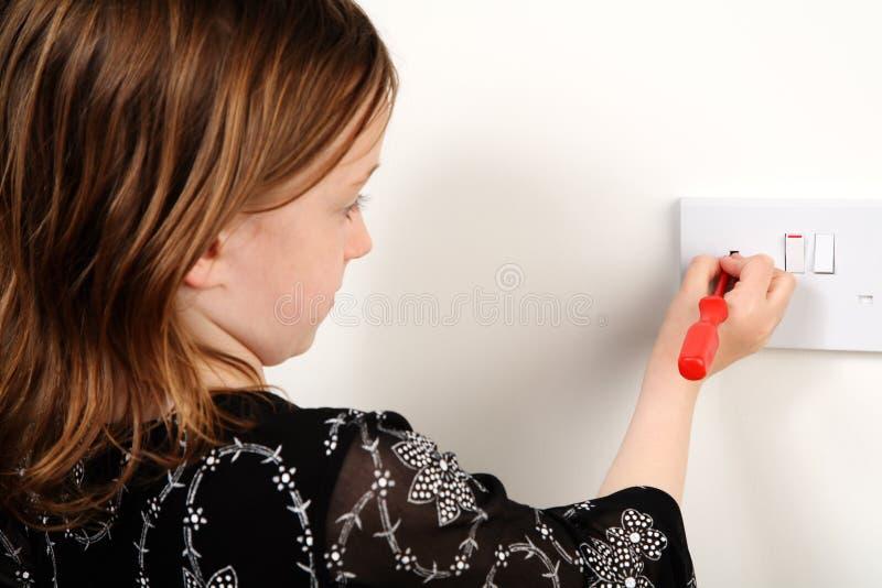 Gefahr des elektrischen Schlages stockfoto