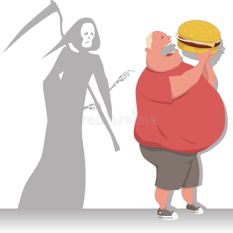Gefahr des Zu viel essens stock abbildung
