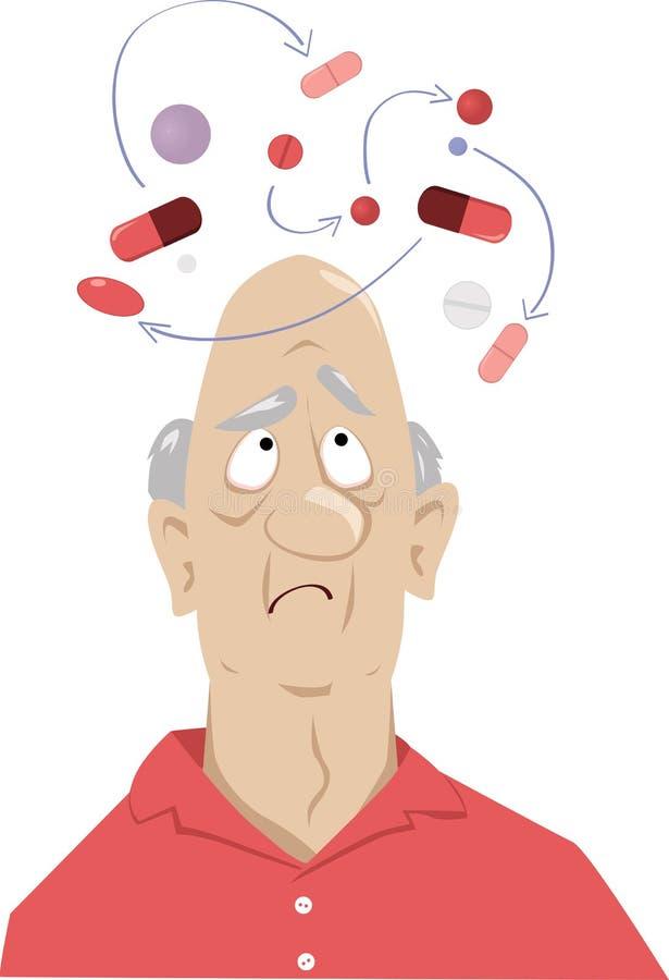 Gefahr von Medikationsinteraktionen stock abbildung