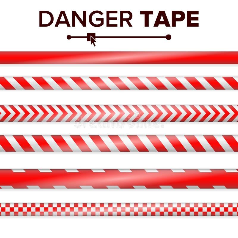 Gefahrenband-Vektor ROT UND WEISS Warnendes Band-Streifen Realistische Plastikpolizei-Gefahrenband-Satz-Illustration vektor abbildung