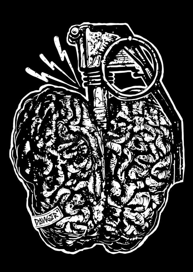 Gefahrengehirnentwurfs-Kunst Illustration stock abbildung
