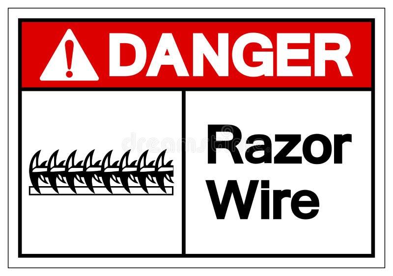 Gefahrenrasiermesser-Draht-Symbol-Zeichen, Vektor-Illustration, lokalisiert auf weißem Hintergrund-Aufkleber EPS10 stock abbildung