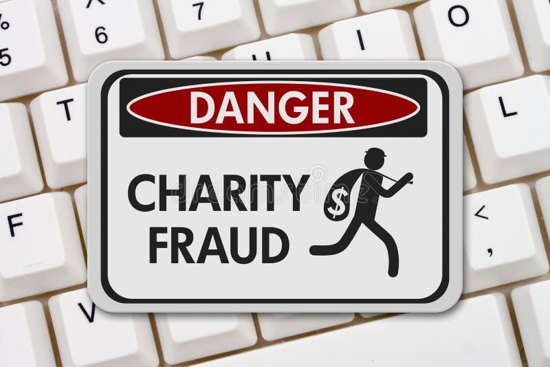 Gefahrenzeichen für Wohltätigkeitsbetrug mit einem Dieb stockfoto