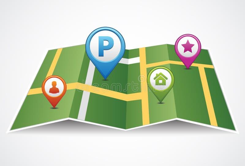 Gefaltete Papierkarte mit zwei Zeigern stellte auf Weg ein GPS-Standort lizenzfreie abbildung