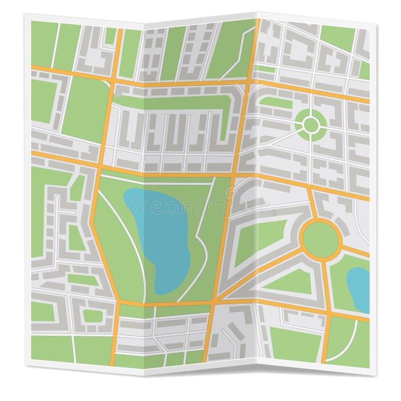 Gefaltete Stadtkarte lizenzfreie abbildung