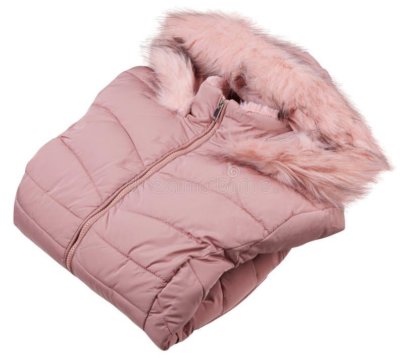 Gefalteter voller Reißverschluss der Rosafrau hinunter Jacke, Regenbeweis-Winterjacke mit dem Pelz lokalisiert auf einem weißen H stockbild
