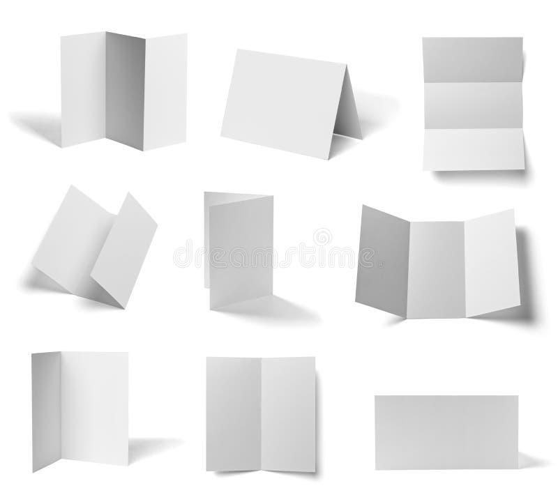 Gefaltetes Schablonenbuch des leeren Papiers der Broschüre weißes stock abbildung