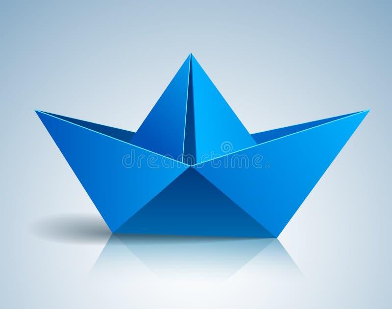 Gefaltetes Spielzeugpapierschiff des Origamis lizenzfreie abbildung