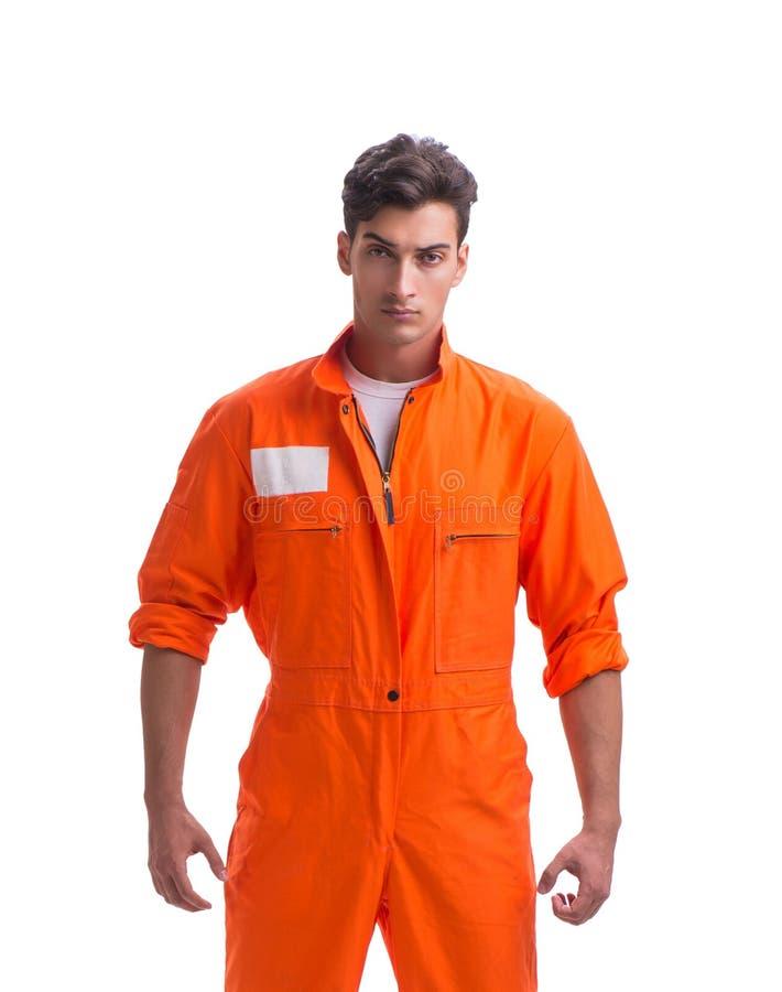 Gefangener in der orange Robe lokalisiert auf wei?em Hintergrund stockfotos