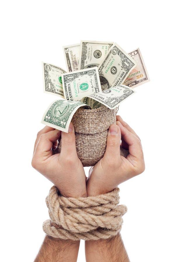 Gefangener des Gewinns - bemannen Sie das Anhalten der Tasche des Geldes lizenzfreie stockbilder