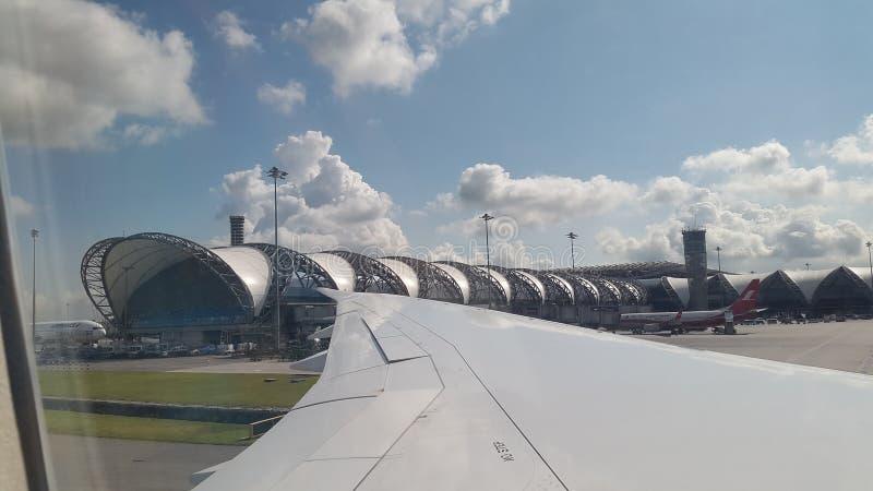 Gefangennahme auf Flugzeug an suwannaphum Flughafen Thailand stockfoto