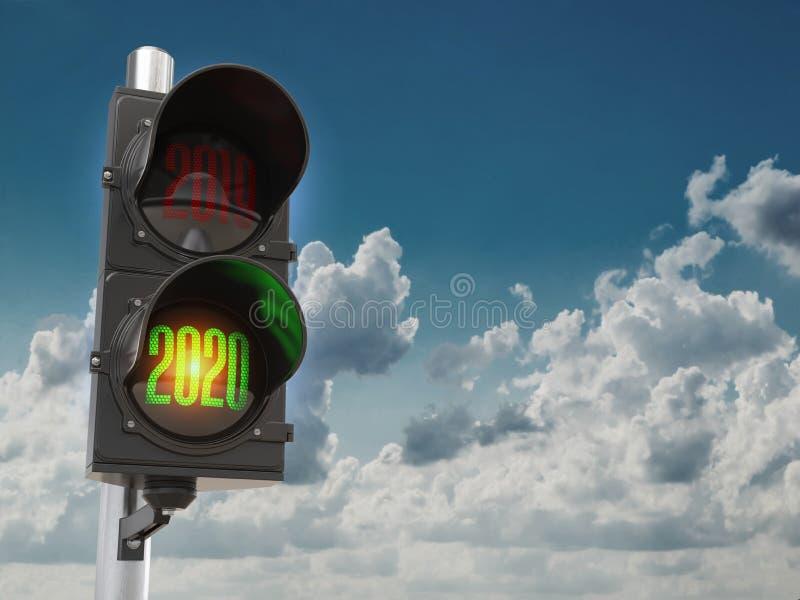 Gefeliciteerd, nieuw jaar 2020 Verkeerslicht met groen licht 2020 en rood 2019 op de achtergrond van de lucht 3d illustratie stock illustratie