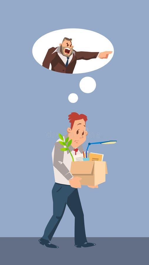 Gefeuerter unglücklicher Mann Carry Cardboard Box mit Material lizenzfreie abbildung