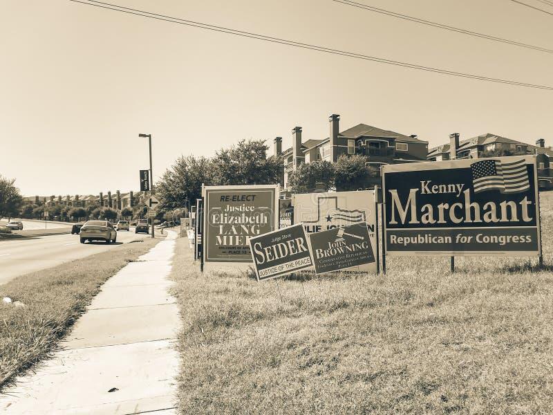 Gefiltreerde de verkiezingsaffiches van de toonhelft van het trimester in Amerika met dicht van stock afbeeldingen
