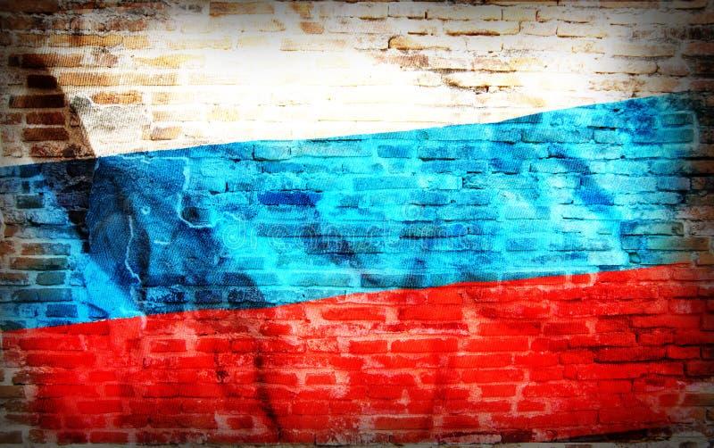 Gefiltreerde wijnoogst grunge, de vlag van Rusland op baksteen stock foto's