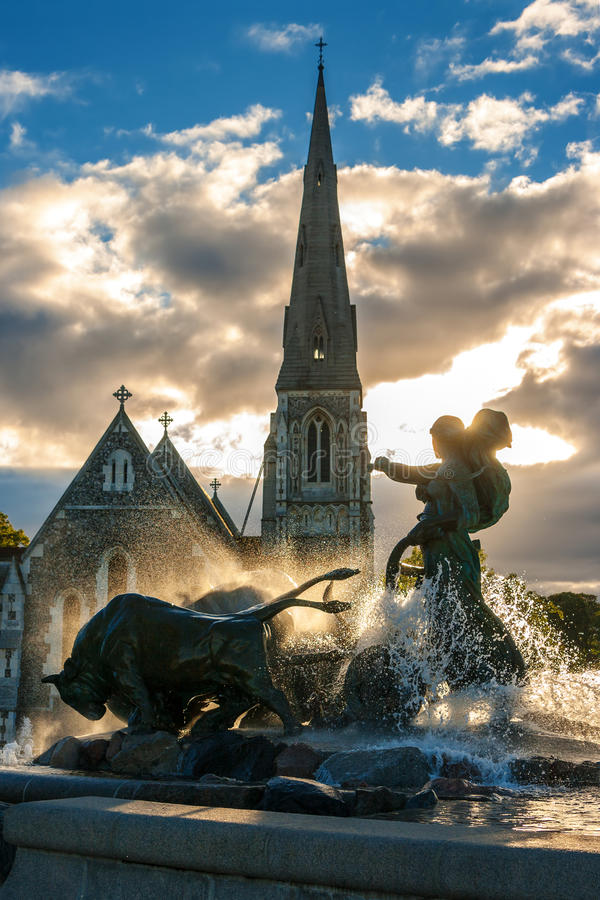 Gefion Brunnen. Kopenhagen, Dänemark lizenzfreie stockfotografie