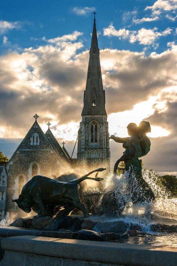 Gefion fontanna. Kopenhaga, Dani fotografia royalty free
