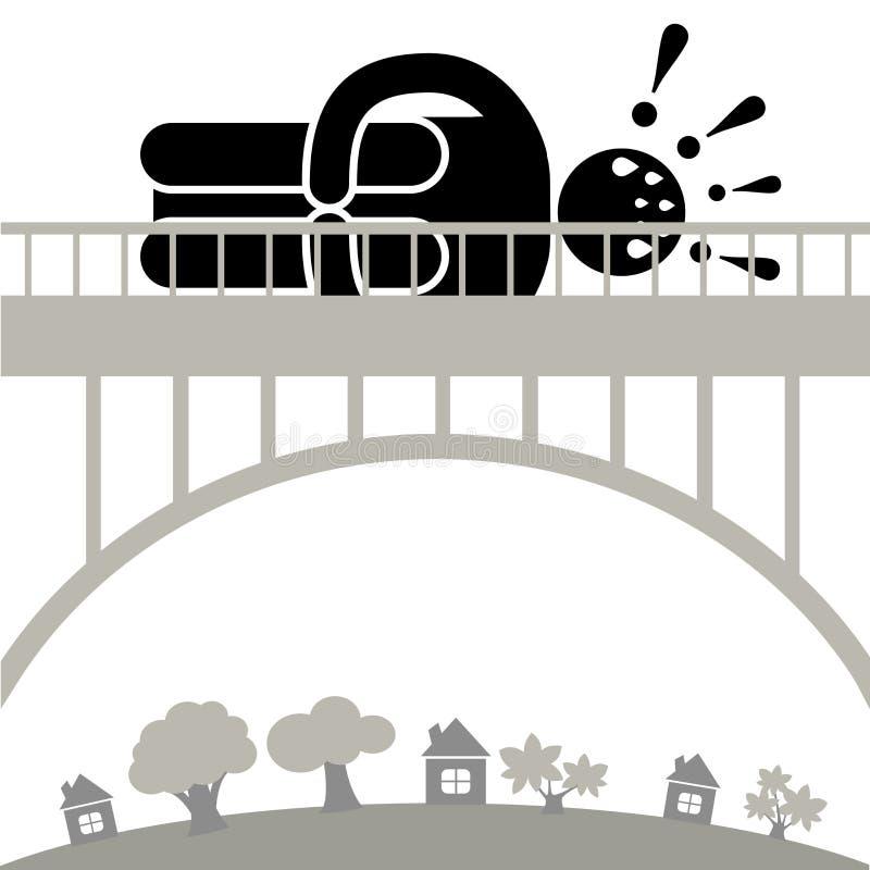 Gefirofobia De mens is bang om de brug te kruisen Hoogtevrees Het karakter viel in een paniekaanval Embleem, pictogram, silhouet vector illustratie