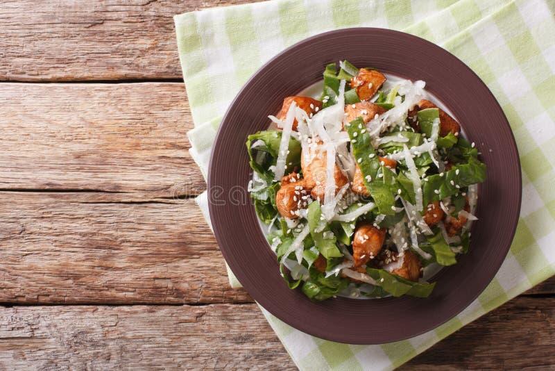 Geflügelsalat, daikon, Spinats- und Sesamnahaufnahme auf einer Platte H lizenzfreie stockfotografie
