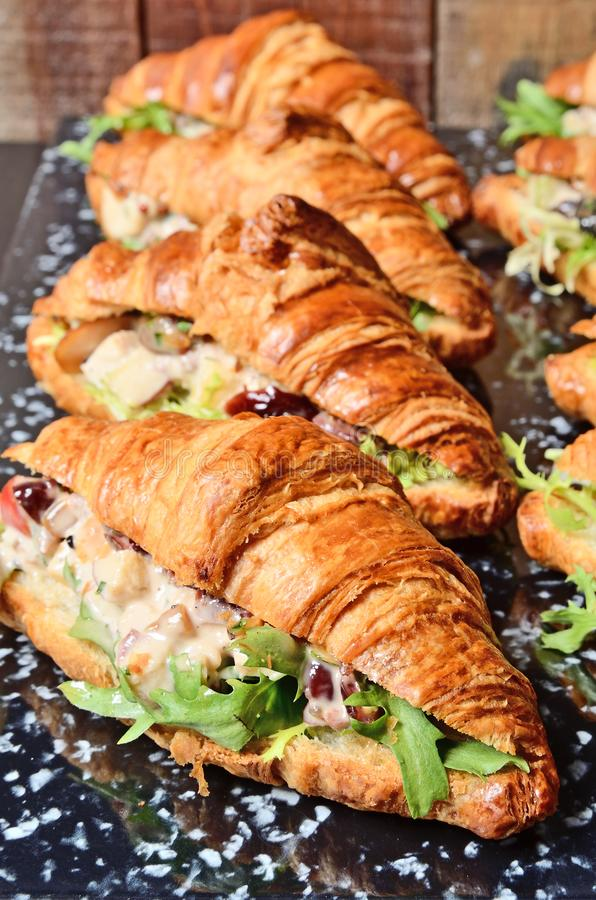Geflügelsalat-Hörnchen-Sandwich stockbild