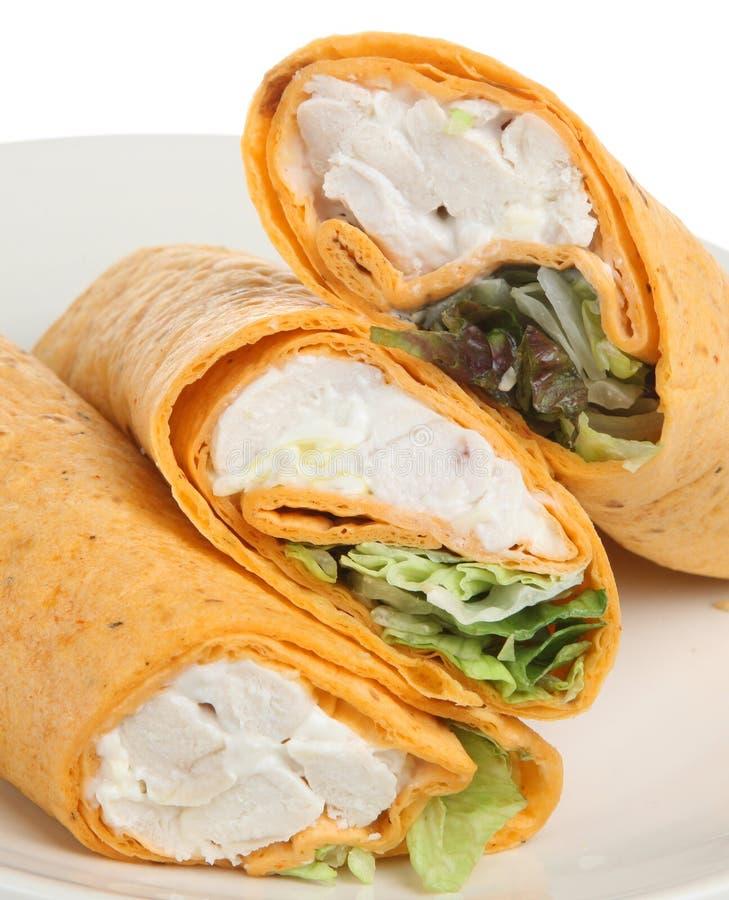 Geflügelsalat-Tortilla-Verpackung stockbilder