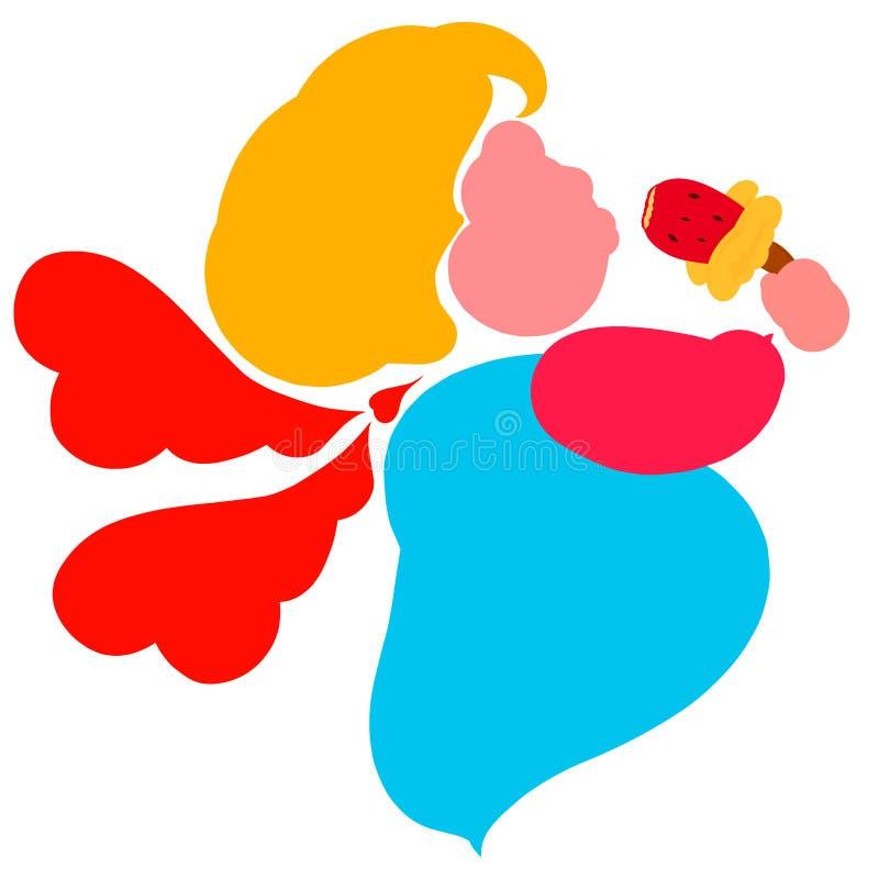 Geflügelte schwangere oder fette Frau mit einem Appetit Eiscreme essend vektor abbildung