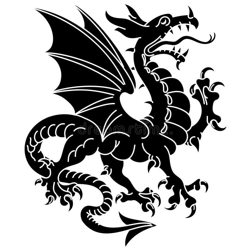 Geflügelter heraldischer Drache stock abbildung