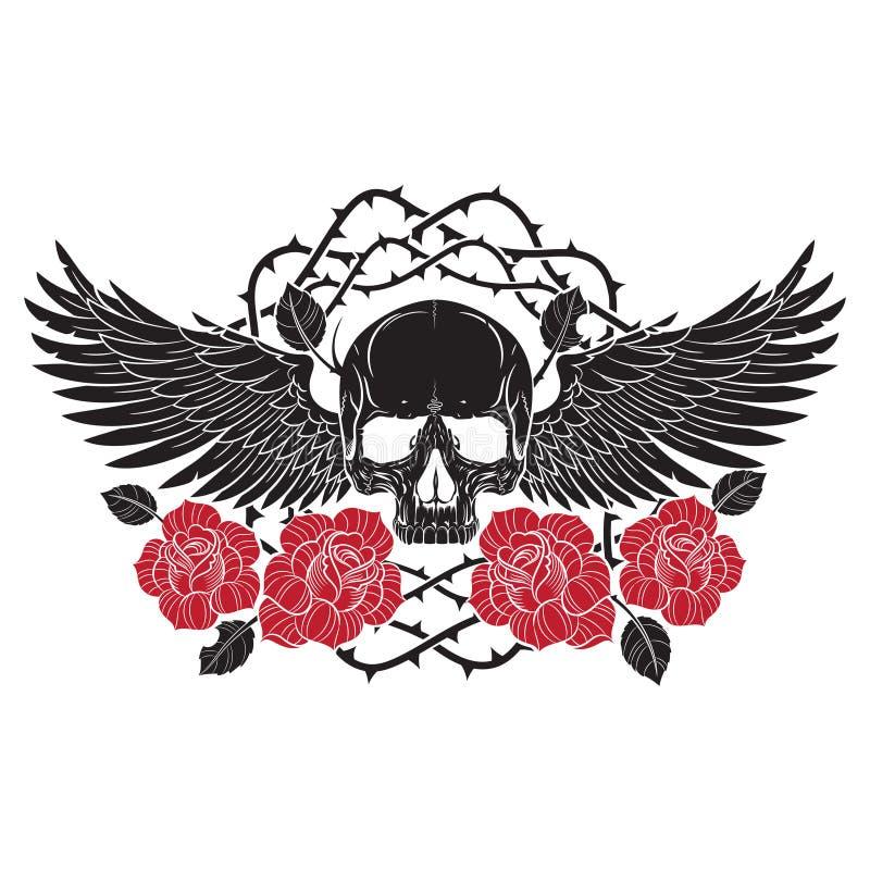 Geflügelter Schädel und Rosen stock abbildung