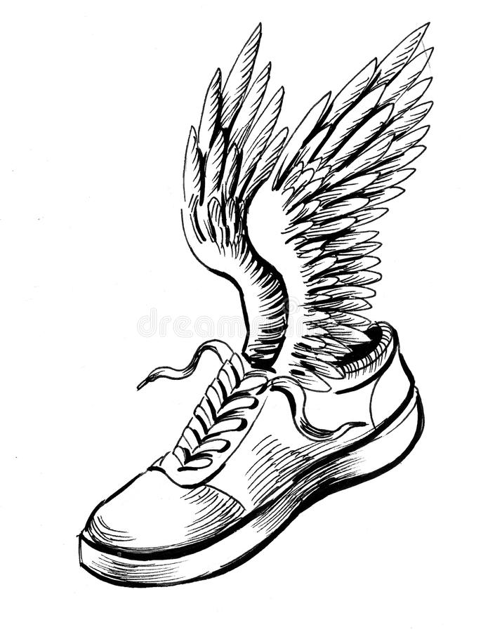 Geflügelter Schuh stock abbildung