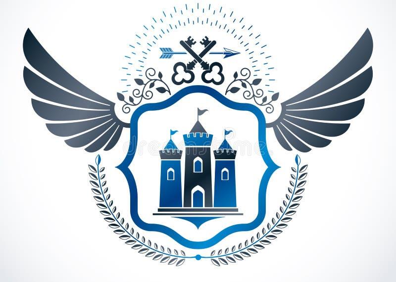Geflügeltes Emblem der Weinlese hergestellt im heraldischen Design des Vektors und in Baut. lizenzfreie abbildung