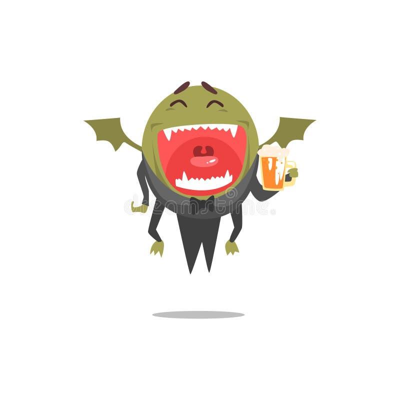 Geflügeltes grünes Monster-tragende Endstücke, die das Bier stark Partying ist als Gast am bezaubernden vornehmen Partei-Vektor l lizenzfreie abbildung