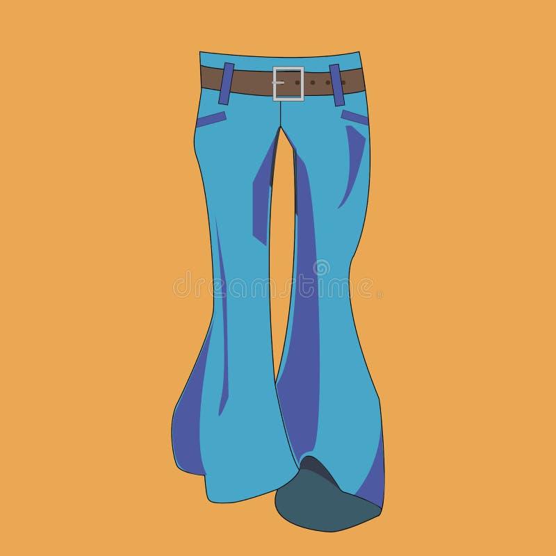 Geflakkerde broeken jaren '70manier Jeans op een bruine achtergrond Vector illustratie royalty-vrije illustratie