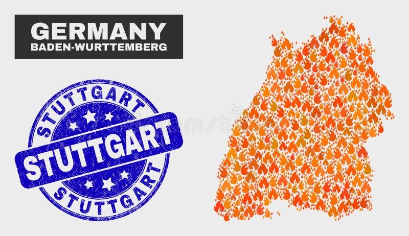 Geflammte Mosaik Baden-Wurttembergland-Karte und Bedrängnis-Stuttgart-Stempel vektor abbildung