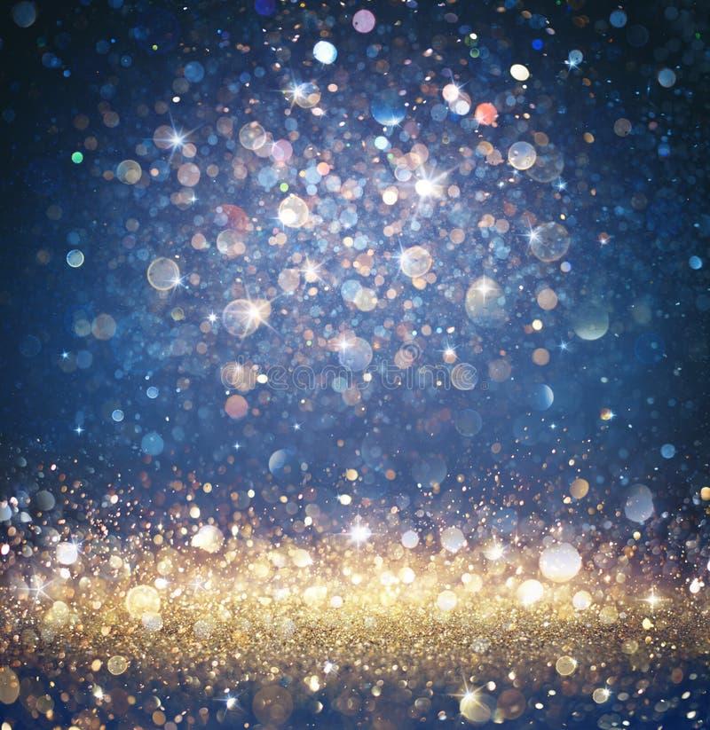Gefonkelde Kerstmisachtergrond - schitter Gouden en Blauw met het Fonkelen royalty-vrije stock fotografie