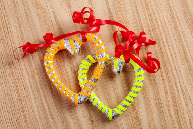 Geformte candys Karamell des Herzens stockbild