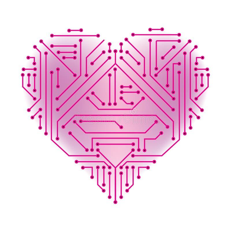 Geformte gedruckte Schaltung des Herzens vektor abbildung