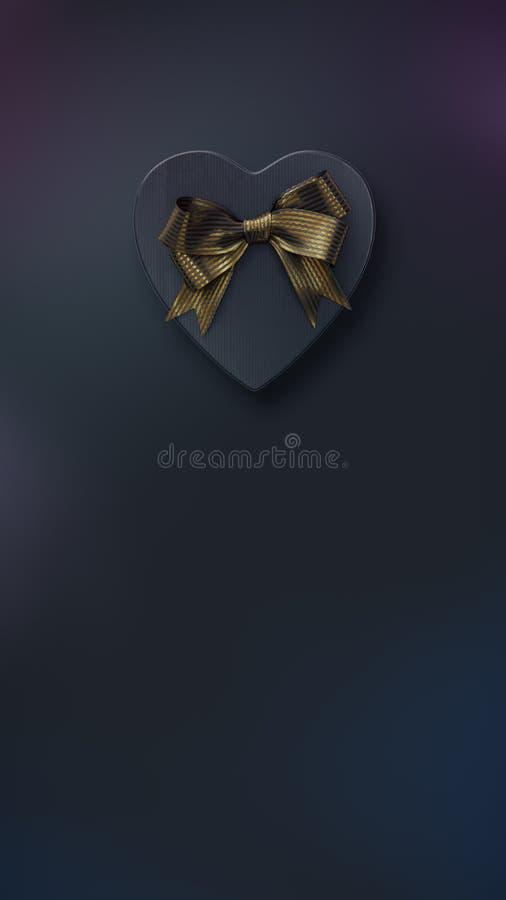 Geformte Geschenkbox des Herzens mit Bogen auf Schwarzem stock abbildung