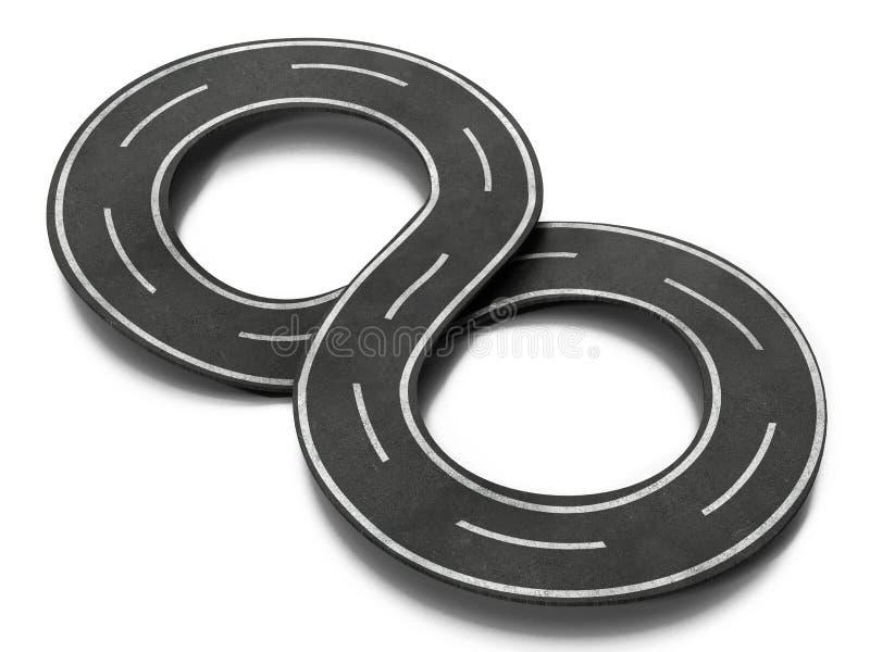 Geformte Straße des Unendlichkeitssymbols Abbildung 3D lizenzfreie abbildung