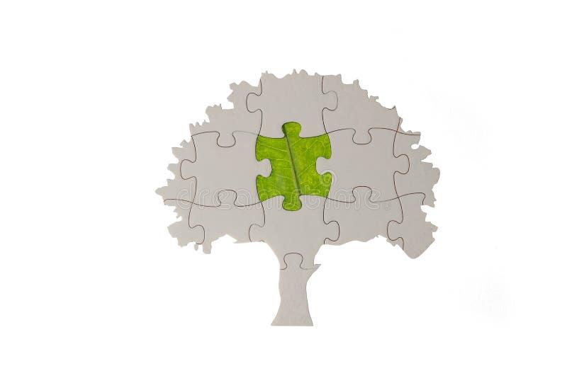 Geformter Baum des Puzzlespiels mit grünem Blatt stockfotografie