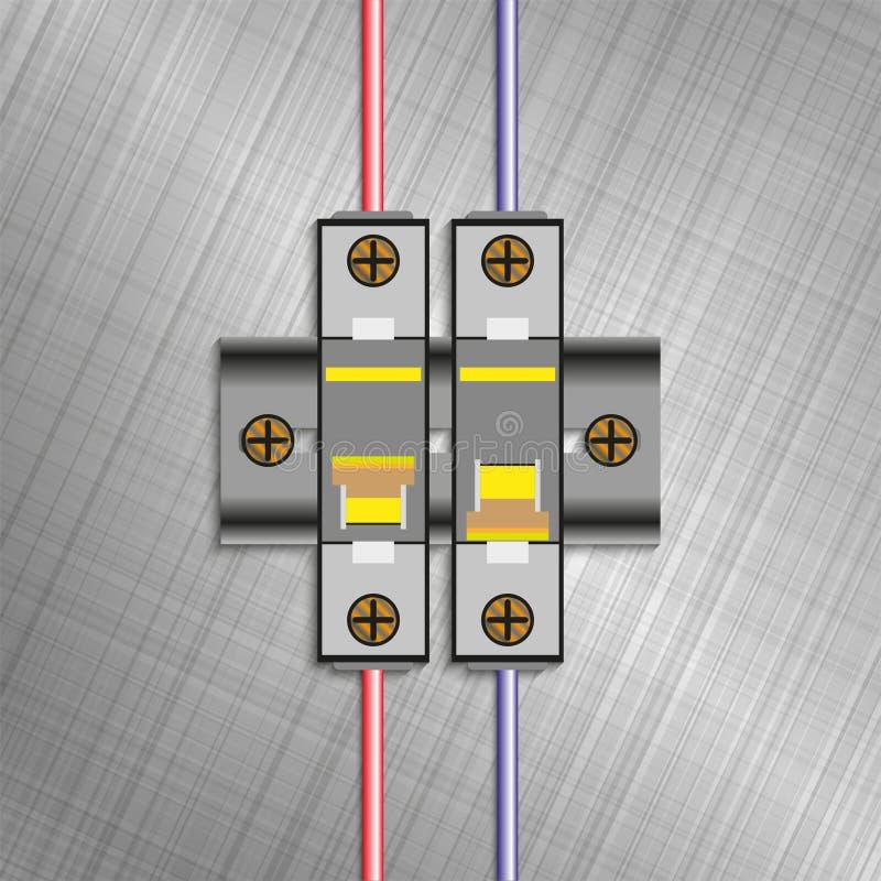 Geformter Fallleistungsschalter Elektrische Sicherungsblöcke Auch im corel abgehobenen Betrag stock abbildung