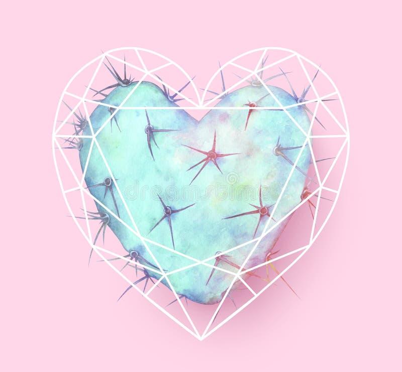 Geformter Kaktus des blauen Herzens im polygonalen Herzen Dekoratives Bild einer Flugwesenschwalbe ein Blatt Papier in seinem Sch stockfoto