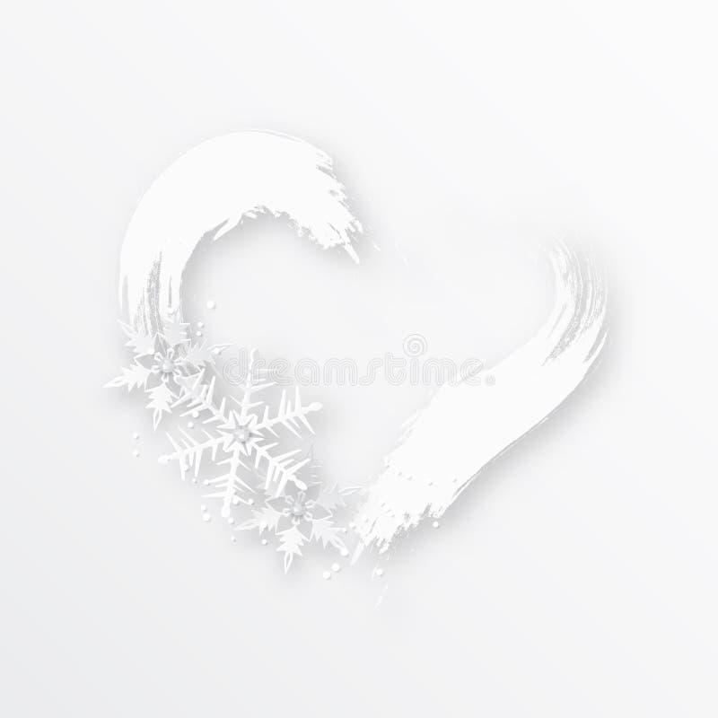 Geformter Rahmen des Herzens mit Schneeflocken Weiße Schneeflocken auf einem blauen Hintergrund lizenzfreie abbildung