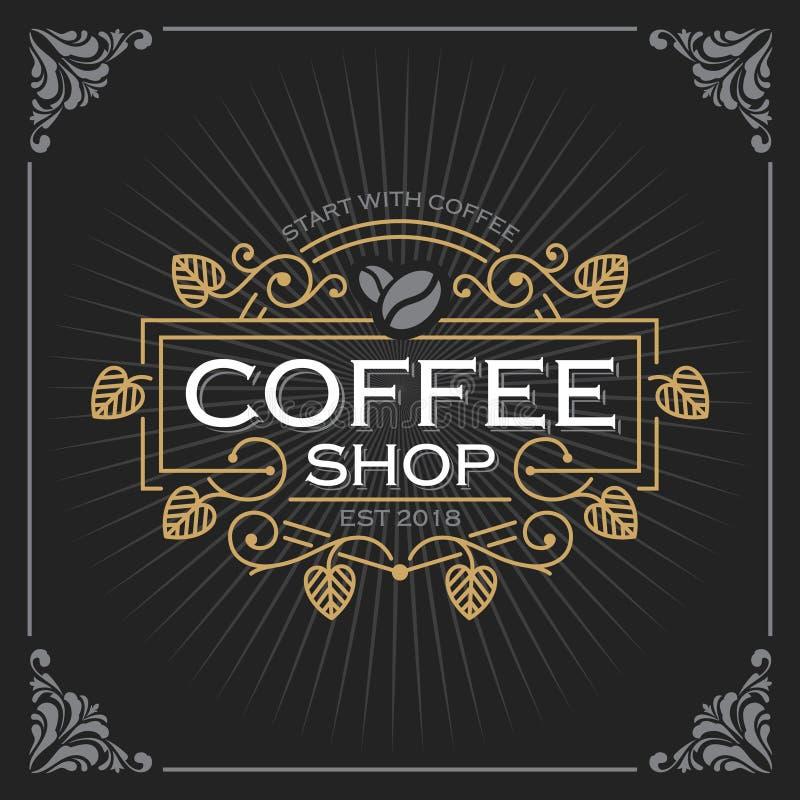 Geformtes Cup des Inneren für Kaffeegeliebte Weinlese-Luxusfahnen-Schablonen-Design für Aufkleber, Rahmen, Produkt-Tags Retro- Em stock abbildung