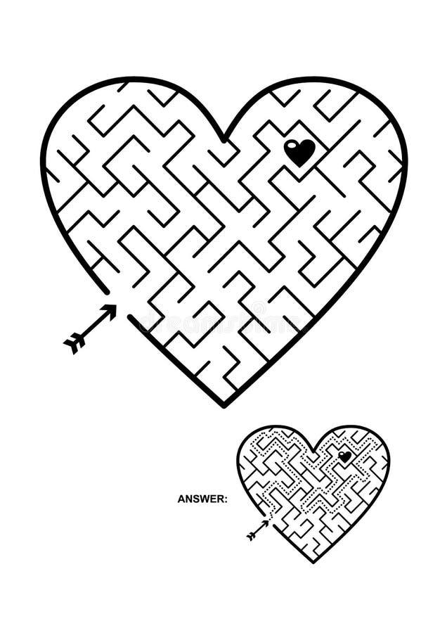 Geformtes diagonales Labyrinthspiel des Herzens vektor abbildung