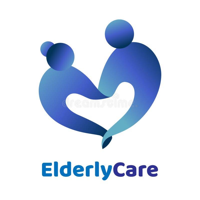 Geformtes Logo des älteren Gesundheitswesenherzens Pflegeheimzeichen lizenzfreie abbildung