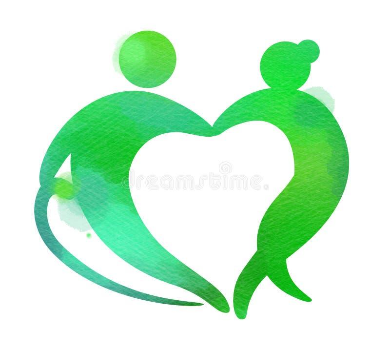 Geformtes Logo des ?lteren Gesundheitswesenherzens Pflegeheim-Zeichenschattenbild auf Aquarellhintergrund Digital-Kunstmalerei vektor abbildung
