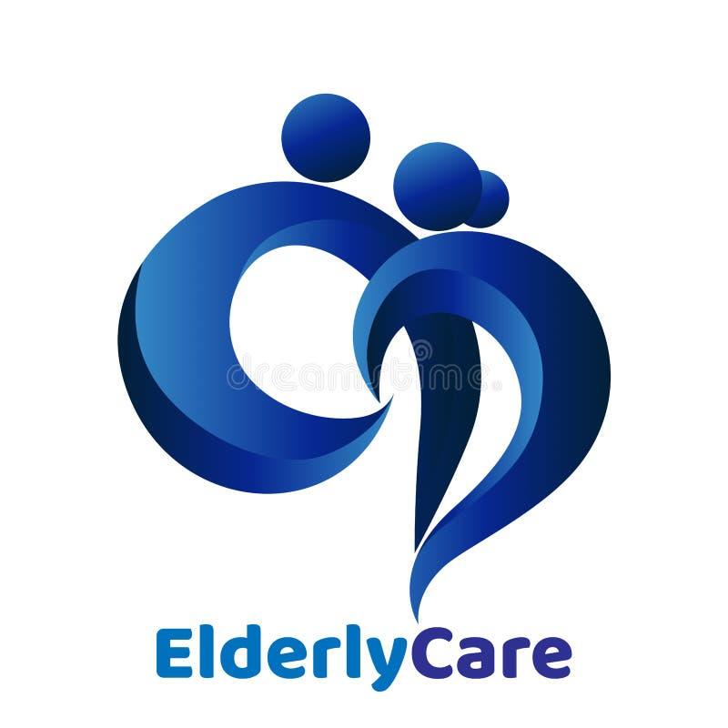 Geformtes Logo des ?lteren Gesundheitswesenherzens Pflegeheimzeichen vektor abbildung