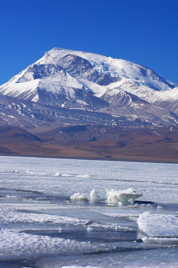 Gefrieren Sie See- und Schneeberge in Tibet lizenzfreie stockbilder