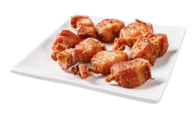 Gefrituurd gestreept varkensvlees met kruid royalty-vrije stock fotografie