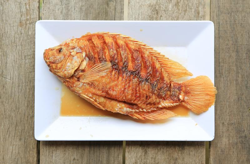 Gefrituurde Robijnrode vissen op witte vierkante plaat tegen houten lijst - Beroemd Thais voedselmenu stock fotografie